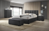 BRONTE KING 5 PIECE TALLBOY FABRIC BEDROOM SUITE WITH GASLIFT BED - DARK GREY