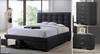 TURRAMURRA KING 4 PIECE TALLBOY FABRIC BEDROOM SUITE -  (BED WITH 2 DRAWERS) - DARK GREY
