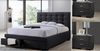 BRONTE KING  3 PIECE BEDSIDE   BEDROOM SUITE -  (BED WITH 2 DRAWERS) - DARK GREY