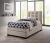 KING SINGLE BRONTE FABRIC BED WITH SINGLE BED END DRAWER - LIGHT BEIGE