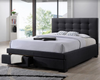 BRONTE DOUBLE OR QUEEN  4 PIECE TALLBOY FABRIC BEDROOM SUITE -  (BED WITH 2 DRAWERS) - DARK GREY