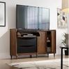 HARVEY PARK  CREDENZA - TV UNIT WITH 2 DOORS / 3 DRAWERS  - 900(H) X 1505(W)- WALNUT & BLACK