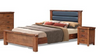AYDEN   QUEEN 3 PIECE  BEDSIDE BEDROOM SUIT  (3734) BED WITH PADDED HEADBOARD (MODEL - 7-5-15-18-7-9-1) - NUTMEG