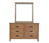 DANIEL (3722)  6 DRAWER DRESSING TABLE WITH MIRROR - CHESTNUT