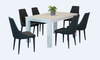FRENCH COAST  7 PIECE DINING SET- WITH 1600(L) X 900(W) TABLE AND ALISON CHAIRS -BRUSHED WHITE + CHARCOAL