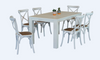 FRENCH COAST  7 PIECE DINING SET- WITH 1600(L) X 900(W) TABLE AND CROSSBACK CHAIRS -BRUSHED WHITE  + RUSTIC
