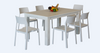 FRENCH COAST  7 PIECE DINING SET- WITH 1600(L) X 900(W) TABLE AND RIVA CHAIRS -BRUSHED WHITE