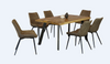 RETRO MONTREAL 7 PIECE DINING SET WITH    -  1600(L) x 900(W) - DINING TABLE  - RUSTIC MANGO +GUMNUT
