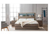 ROGAN  KING 3 PIECE (BEDSIDE ) BEDROOM SUITE - BED WITH LEAD LIGHT  (MODEL:LS 718 /K)  -  MOCHA