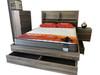 ROGAN DOUBLE OR  6 PIECE (THE LOT) BEDROOM SUITE - BED WITH LEAD LIGHT (MODEL:LS 718 Q/D)  -  MOCHA