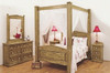 SUFFOLK KING POSTER SOLID TIMBER 5 PIECE (DRESSER) BEDROOM SUITE - BLACKWASH