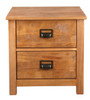 OSCAR TIMBER BEDSIDE TABLES WITH 2 DRAWERS - (20-1-19-13-1-14) - NATURAL