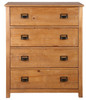 OSCAR TIMBER TALLBOY CHEST WITH 4  DRAWERS - (20-1-19-13-1-14) - NATURAL