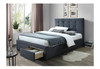 DOUBLE  RHODES FABRIC BED WITH 2 FRONT DRAWERS - DARK GREY