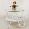 GATSBY GLASS - RATTAN SIDE TABLE  - WHITE