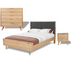 EVERTON   QUEEN 4 PIECE BEDROOM SET- BED  WITH FABRIC PADDED HEADBOARD - (MODEL:13-1-18-12-5-25) - CHARCOAL /NATURAL