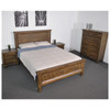 QUEEN CHRISTINE  RECYCLED TIMBER PANEL  BED -  AGED ROUGH SEWN