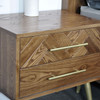 TOULOUSE  OAK WOOD 2 DRAWER BEDSIDE TABLE  - CLASSIC OAK / GOLD