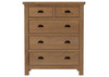 EMINENCE 5 DRAWERS OAK TOP-SPLIT TALLBOY CHEST (18-1-15) - RUSTIC OAK