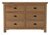 EMINENCE 6 DRAWERS OAK CHEST (18-1-15) -  780(H) x 1150(W)- RUSTIC OAK