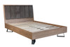 KING HERRINGBONE OAK BED FRAME - (IB-60) - AGED GREY OAK / LIGHT GUN METAL GREY
