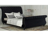 KING  CANNES DESIGNERS FABRIC UPHOLSTERED BED FRAME WITH TUFTED HEADBOARD -  BLACK