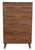 CELESTINE 5 DRAWERS TALLBOY - WALNUT