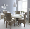 DELAN 5 PIECE ROUND PEDESTAL DINING SETTING (TABLE:WW091) WITH 4 RATTAN CHAIRS (MODEL:WW013) - 1200(D) - WHITE / GREY