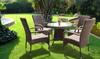 DUBLIN OUTDOOR LOUNGE SETTING WITH 800(L) GLASS TOP TABLE