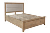BARCLAY DOUBLE OR QUEEN 5 PIECE (DRESSER) FABRIC PANEL BEDHEAD WITH LOW END FOOTBOARD BEDROOM SUITE + STOOL - (HO-46-50) - AGED  OAK / LIGHT LINEN