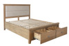 BARCLAY DOUBLE OR QUEEN 6 PIECE (THE LOT) FABRIC PANEL BEDHEAD WITH LOW END FOOTBOARD BEDROOM SUITE + STOOL - (HO-46-50) - AGED  OAK / LIGHT LINEN