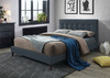 DOUBLE YOLANDA LINEN FABRIC BED FRAME WITH LOW END FOOTBOARD - GREY OR CHARCOAL
