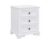 CHANELLE 3 DRAWER BEDSIDE TABLE - WHITE
