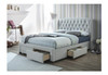 DOUBLE CALGARY FABRIC BED FRAME - STONE