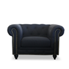 CHESTERFIELD ARMCHAIR - KEY WEST BLACK LINEN