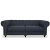 CHESTERFIELD 3 SEATER SOFA - KEY WEST BLACK LINEN
