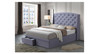 DOUBLE TURQUOISE FABRIC BED WITH DRAWERS (IM-5733) - OATMEAL