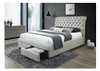 DOUBLE CRYSTAL BED WITH 2 DRAWERS - LIGHT BEIGE