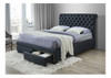 DOUBLE CRYSTAL BED WITH 2 DRAWERS - DARK GREY