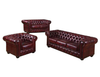 CHESTERFIELD 100% LEATHER 2 SEATER ONLY - RED OR BROWN