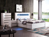 BEXLEY KING 4 PIECE (TALLBOY) BEDROOM SUITE WITH LED LIGHTS AND STORAGE OPTIONS  (LS 708 K)-  GLOSS WHITE
