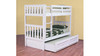 SINGLE LINDFIELD (MODEL 10-5-19-20-5-18) BUNK BED WITH SINGLE MATCHING TEENAGE TRUNDLE BED - ARCTIC WHITE