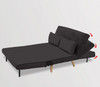 BRONT 3 SEATER FAUX VELVET SOFA BED COUCH - BLACK