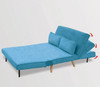BRONT 3 SEATER FAUX VELVET SOFA BED COUCH - BLUE