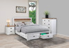 DOVER KING 5 PIECE (DRESSER) BEDROOM SUITE WITH 2 FOOT END DRAWERS - TWO TONE