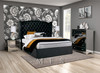CLEMENTI DOUBLE OR QUEEN 3 PIECE (BEDSIDE) BEDROOM SUITE (MODEL: B016) WITH BOULEVARDE MIRRORED CASE GOODS - VELVET , LEATHERETTE OR LINEN UPHOLSTERY - ASSORTED COLOURS