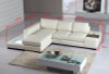 COLUMBIA-II (G1010B) 3 SEATER LEATHER/ETTE COMBINATION CHAISE LOUNGE - ASSORTED COLOURS