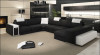 ELETTRA (G1063) 2 SEATER LEATHER/ETTE COMBINATION CHAISE SUITE WITH OTTOMAN - ASSORTED COLOURS