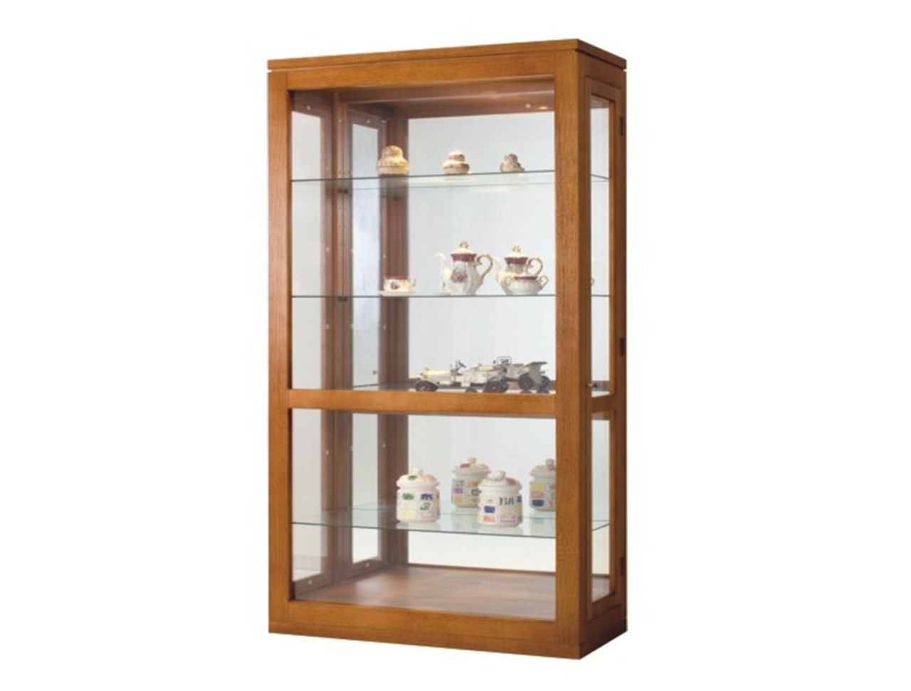 CHINA DISPLAY UNIT WITH GROOVE TOP 2 SIDE DOORS 4 GLASS SHELVES MIRROR