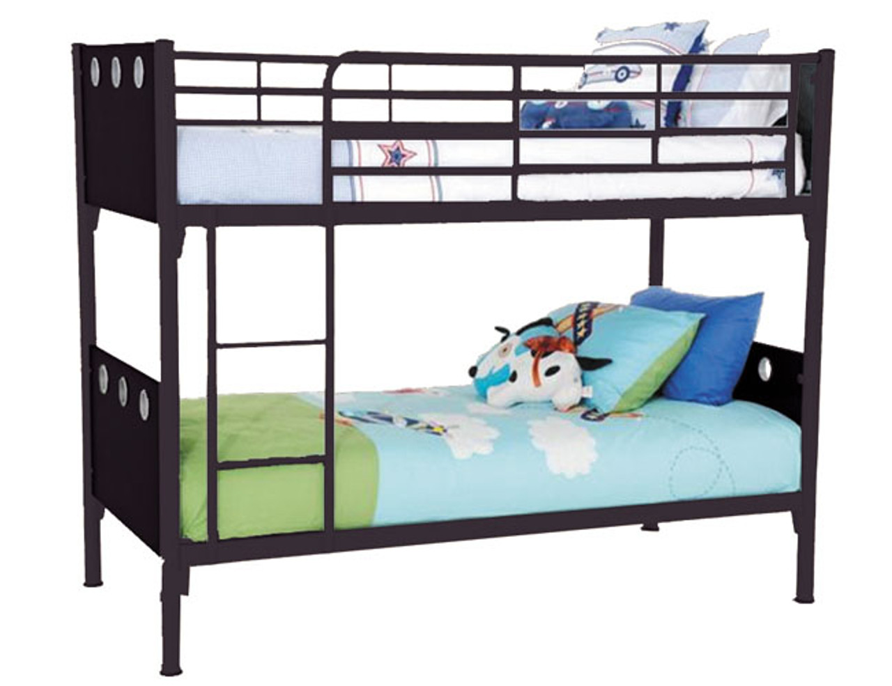 Single Buddy Metal Timber Bunk Bed Black With Black Panel